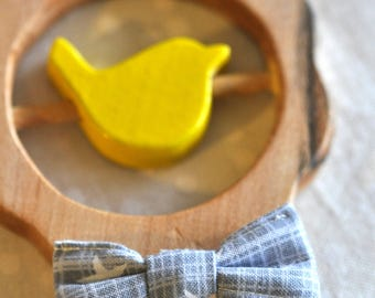 Personalized decorative rattle - yellow and gray