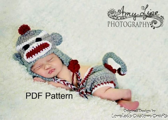 Pdf Crochet Sock Monkey Hat And Diaper Cover Set Pattern File