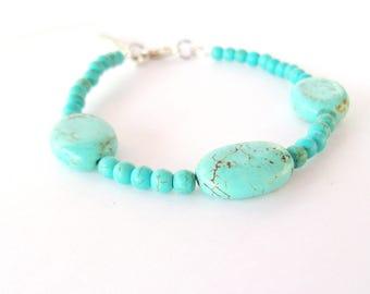 Bracelet perles turquoise, Bracelet ethnique, Bracelet Howlite, bracelet perles