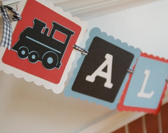 All Aboard Banner, Train Theme, Train Birthday Party,