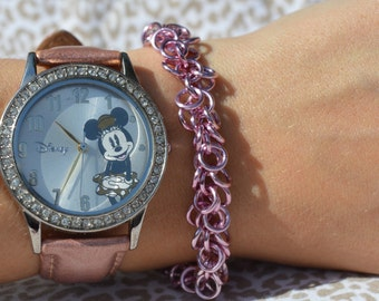 Light Pink Shaggy Loops Chainmaille Bracelet
