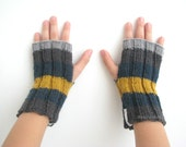 gifts for kids fingerless mittens - hand knitted wool