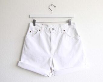 VINTAGE Levis Jean Shorts White Denim 951 Womens Medium Made in USA