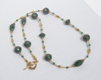 Emerald green & gold mix long necklace