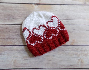 Knit Baby Hat, Baby Heart Hat, Knit Heart Beanie, Knit Baby Beanie, Baby Accessories, Newborn Baby Hat, Baby Shower Gift, Photography Prop