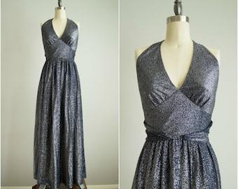vintage 1970s dress / metallic halter evening dress / Jonathan Logan / Shining Star Dress
