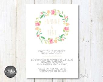 Engagement Invitation A6, Floral Wreath