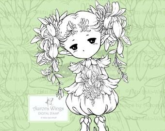 PNG Geißblatt Sprite - Aurora Flügel digitalen Stempel - süße Blumen-Fee - Fantasy Linie Kunst für Kunst und Handwerk von Mitzi Sato-Wiuff