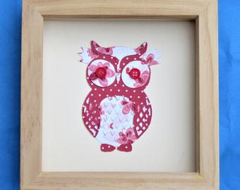 owl picture for a box frame / cute owl wall art / owl art / ideal gift / a red owl picture handmade using scrapbook paper