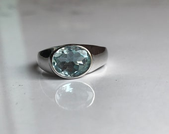 Natural aquamarine men ring in 925 sterling solid silver