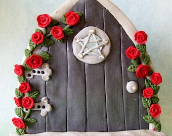 Wiccan fairy door with pentagram design