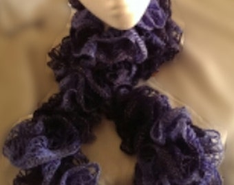 Handmade Ruffled Scarf - Purple