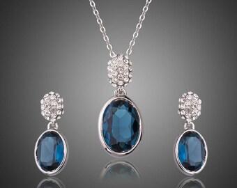 Blue Water Earrings & Necklace Set