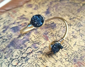 Black quartz druzy cuff bracelet, adjustable black quartz crystal bracelet