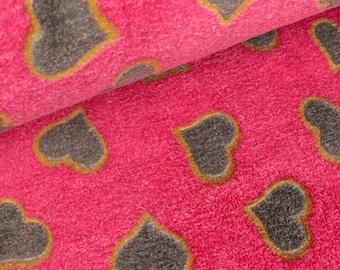 Wellnessfleece Heart Grey on pink (11.00 EUR/meter)