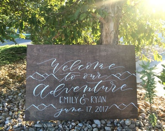 Wedding Welcome Sign . Hand lettered . Rustic Wedding . Welcome Sign . Wedding Ceremony Sign . Wooden Sign . rustic wedding signs