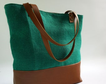 Green Burlap Tote Bag , Vegan Leather Tote, Burlap Shoulder Bag, Teacher bag, Market Bag, Christmas Gift , CYBER MONDAY