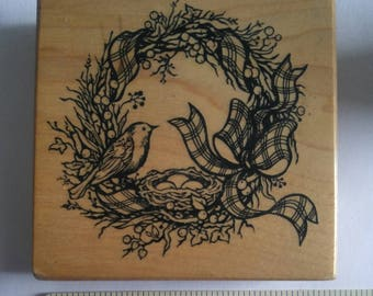 PSX Hedgerow Wreath Spring bird G-1213 wood mounted rubber stamp 1993