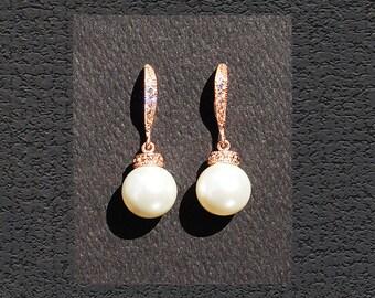 WHITE Bridal Pearls. WHITE Pearl Earrings 332ERG. Rose Gold CZ Bridal Earrings, Bridesmaid Earrings. White Wedding Pearls Rose Gold Earrings