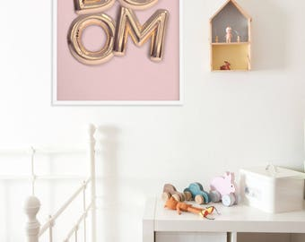 Girls Room Decor, Playroom Poster, Balloons Wall Decor, Pink Poster, Scandinavian Poster, Typography Poster, Kids Print, Nursery Decor