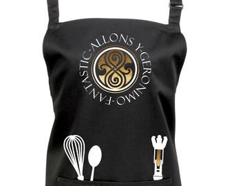 Doctor Who Time Lord Kitchen & Baking Apron with Sonic Screwdriver! Dr Who, Time Lord, Gallifrey, Seal of Rassilon, 12 Colours Ref: 1165