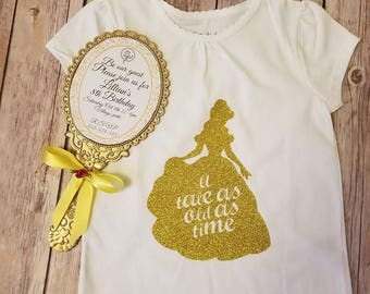 Belle Beauty & The Beast Gold Glitter tshirt