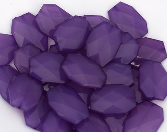 ROYAL PURPLE Large Translucent Faceted Acrylic Flat Nugget Beads, 34mm x 24mm, Big Bold Chunky Jelly Style Beads, Rectangle Polygon Beads