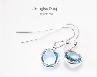 Light Blue Crystal Earrings Sterling Silver Soft Sky Blue Swarovski Crystal Dangle Earrings - 30% off SPECIAL