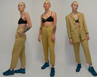 Suit   XS   1990s Khaki Suit Vintage High Waisted Trousers 90s Two Piece Outfit 70s Inspired Jacket