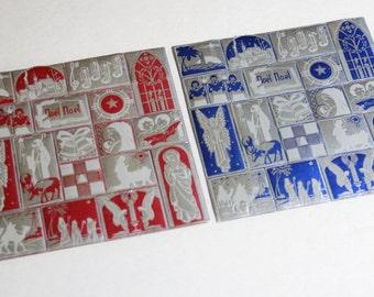 2 Sheets of Vintage Gummed Foil Christmas Stickers