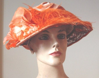 Late Teens Era [1915-1919] All Original Hat Draped Velvet Silk Rose/Ostrich Trim  Item #706