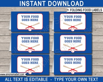 Baseball Food Labels - Baseball Theme Party - Buffet Tags - Tent Cards - Party Decorations - INSTANT DOWNLOAD with EDITABLE text