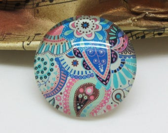 2 cabochons 10 mm glass Paisley multicolor 8-10 mm