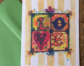 LOVE -- Watercolor Notecards, Hand Lettering