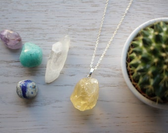 Genuine Raw Citrine crystal necklace with 925 silver plated chain