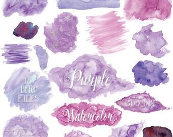 Purple Watercolor Clipart - Lavender / Lilac Watercolor Clip Art - PNG Watercolor Shapes / Splatters / Blobs / Textures Instant Download