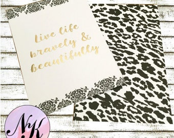Gold Foil Cover, Live Life Bravely, Mini Planner Cover, inspiration print, Framable art, use with Erin Condren Planner(TM), Happy Planner