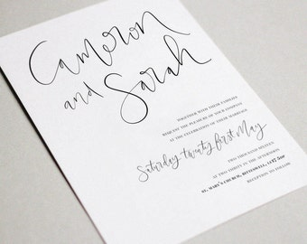 Simple Monochrome Wedding Invitation & RSVP