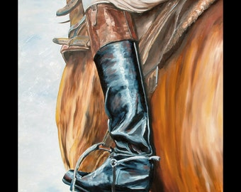 Riding boots horse racing art limited edition print small giclee' signed