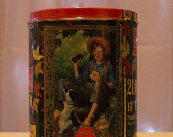 Vintage 1998 Coca-Cola Brand 200 Piece Puzzle in Tin Still Sealed Special Edition,vintage storage,vintage tins,collectible tins,cookie tins