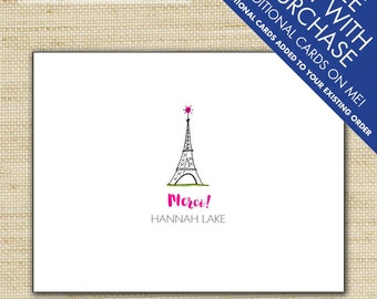 Merci Eiffel Tower Folded Thank You Cards Personalized French Note Cards Paris Party Stationery Eco Friendly Note Cards