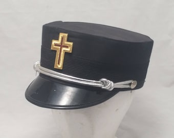 Antique Free Mason Garrison Officer's Cap with Golden Cross Medallion - Union Made - Size 7 5/8