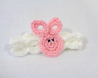 Pink Bunny Headband, Bunny Rabbit Brooch Pin, Easter Present, Easter Basket Gift, Rabbit Hairclip, Crochet Bunny Rabbit Applique by Charlene
