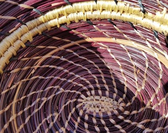 Rich colored plum pine needle basket