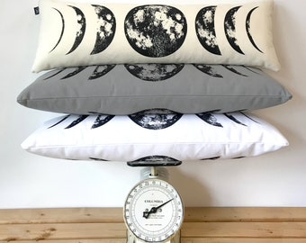 Moon Pillow, moon phase pillow, phases of the moon, moon child, lunar phases, boho decor, moon phase print, living room decor, bedroom decor