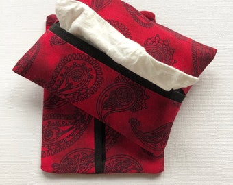 Purse Tissue Holders- Black and Red Paisley Fabric- Pocket Tissue Holders- Travel Tissue Holders- Handmade- Tissue Packet Cover