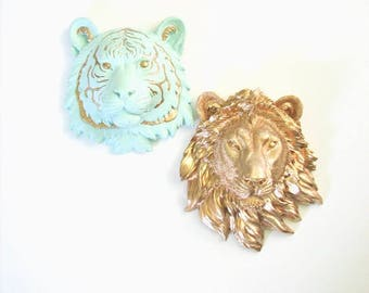 ICICLE BLUE GOLD, SMaLL Faux Taxidermy Tiger + Lion, Set of 2, Gold Lion, Icicle Blue Tiger with Gold Details, Mini Faux Taxidermy, Small