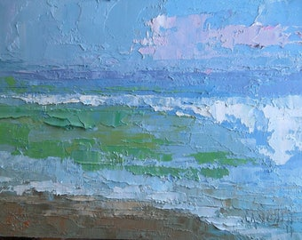 "Small Seascape, Ocean Painting,  6x8"" Original Seascape, Palette Knife Painting, Free Shipping in US"