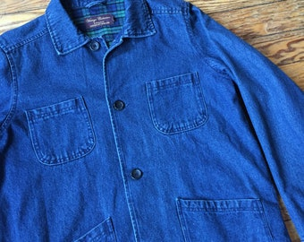 1990's Lee Valley Flannel Lined Denim Chore Coat