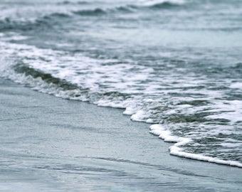 Wave Art Print, Nature Photography Gray Blue Silver Beach Ocean Coastal Decor Wall Art Wall Decor